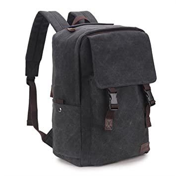 Amazon.com: Canvas Backpack for Men,RAVUO 15.6 inch Water Resistant Vintage Backpack Bookbag Hiking Travel Rucksack Black: Computers & Accessories