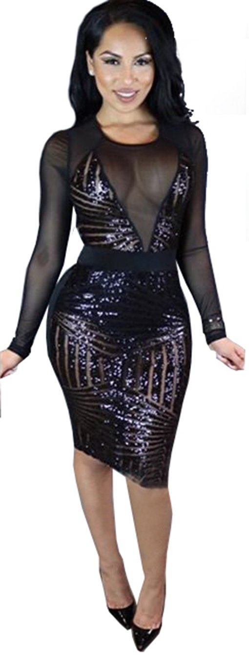 Kearia Womens Sexy Black Sequin Mesh Splice Long Sleeves Clubwear Party Midi Dress Black Large
