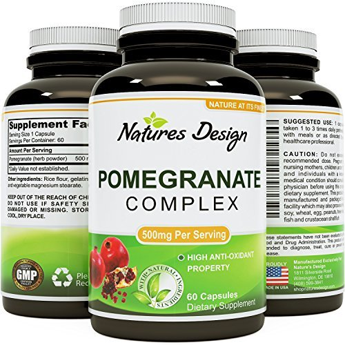Natural & Pure Pomegranate Supplement For Women & Men - Powerful Antioxidant Pills + Immune System Booster - Best Energy Booster Supplements + Blood Pressure Control - Pure Capsules By Natures Craft