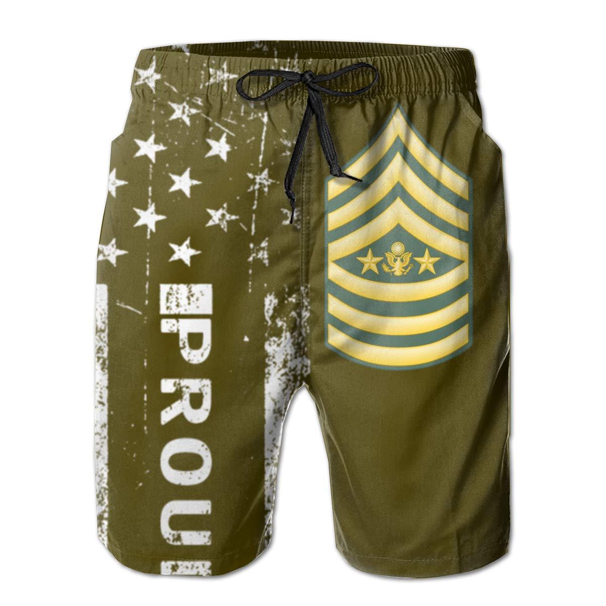 SUNSUNNY US Army Sergeant Major Mens Boardshorts Swim Trunks Beach Athletic Shorts