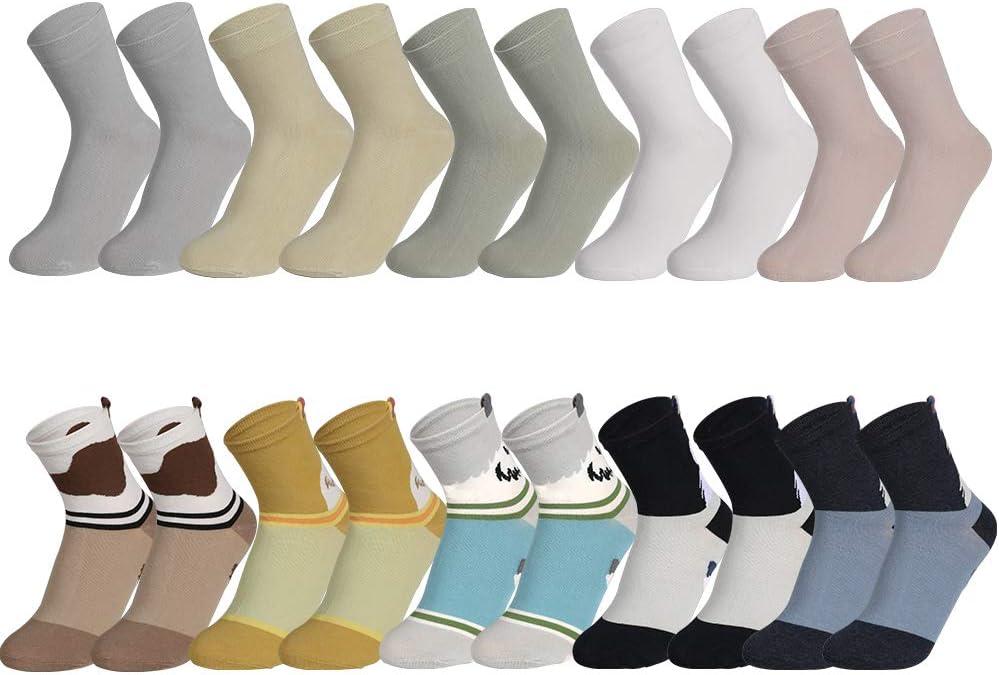 Rovtop 10 Pares Calcetines para Mujer y Hombre - Calcetines Termicos Mujer Invierno Divertidos Calcetines de Algodón, 5 Pares de Lindos Cachorros y 5 Pares de Macarons (Tubo Medio)