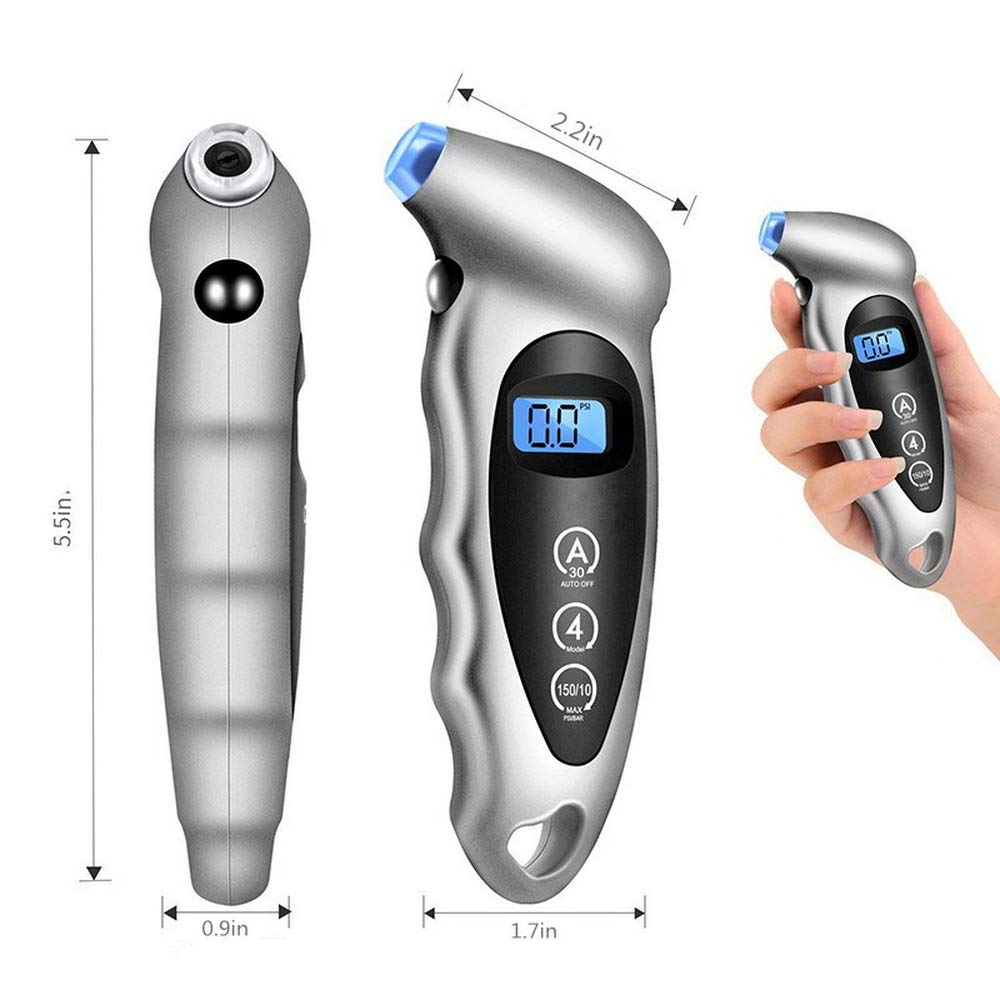 Bicycle Silver Motorcycle Digital Tire Pressure Gauge 150 PSI 4 Settings With Backlit LCD and Non-Slip Grip Best for Car