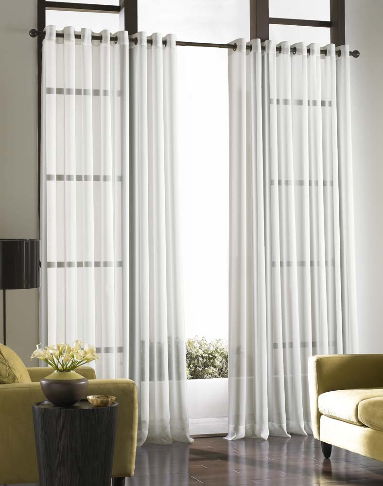 "Curtainworks Soho Voile Sheer Grommet Panel, 59 by 144"", Winter White - Sheer lightweight voile fabric 100% Polyester 59 Inch wide; 1.5-inch metal grommets - living-room-soft-furnishings, living-room, draperies-curtains-shades - 61yIAuztI3L -"