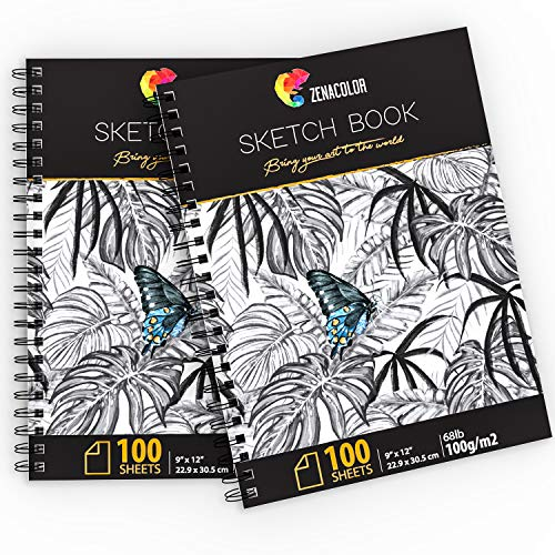 "200 Sheets, Professional Sketch Book Set, 9""x12"" with Spiral Bound - 2 x Sketch Pad with White Drawing Paper (100 g) - Blank Artist Sketchbook with Hardback Cover, Easy Tear Out for Drawing Pad"