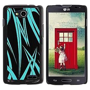 Be Good Phone Accessory // Dura Cáscara cubierta Protectora Caso Carcasa Funda de Protección para LG OPTIMUS L90 / D415 // Neon Blue Tribal