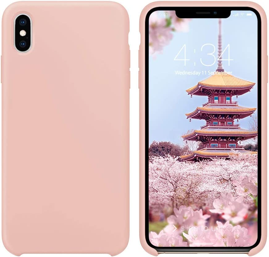 iPhone X Case Silicone, iPhone Xs Silicone Case, Xperg Slim Liquid Silicone Gel Rubber Shockproof Case Soft Microfiber Cloth Lining Cushion Compatible with iPhone X/XS 5.8 inch, Pink Sand