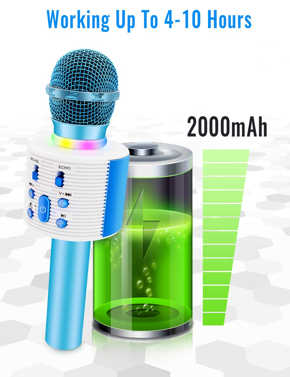 Wireless Karaoke Microphone with Speaker Pro, 3-in-1 Portable Handheld Karaoke Mic Home Party Birthday Gifts for Kids Speaker Machine for Android/ PC /phone(Blue) by weird tails (Image #6)