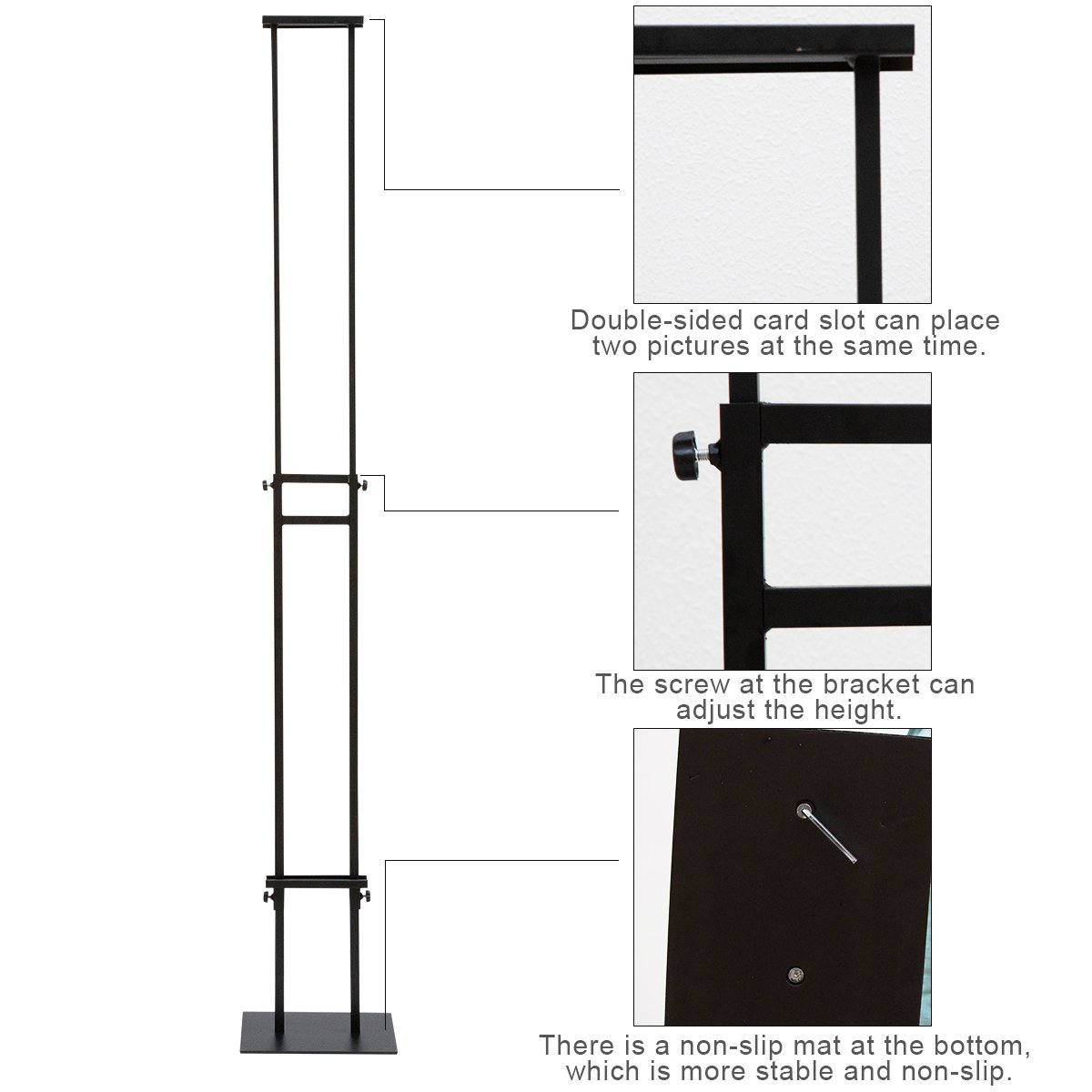HUAZI Poster Display Stand Pedestal Sign Holder with Base for Indoor Outdoor,Double-Sided,Black
