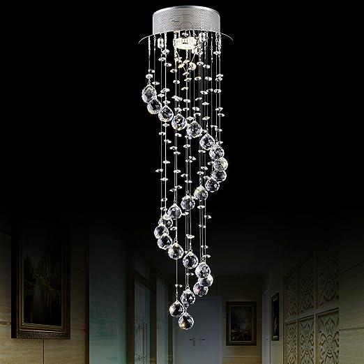 Modern elegante LED cristal lámpara colgante Candelabro iluminación 1 * GU10 luces Plata überdachung transparente hängend K9 Cristal Bolas Wendel ...