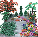Sawaruita Garden Park Building Block Toy Set,Flower Botanical Scenery Accessories 450 + , Compatible All Major Brands(Including 2Pack of 5' x 5' Base Plate (A)