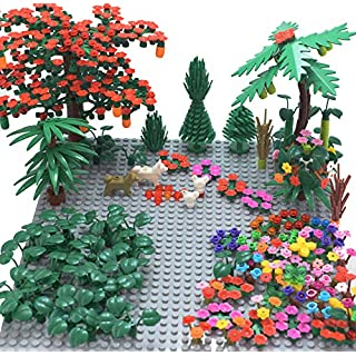 "Sawaruita Garden Park Building Block Toy Set,Flower Botanical Scenery Accessories 450 + ,  Compatible All Major Brands(Including 2Pack of 5"" x 5"" Base Plate (A)"