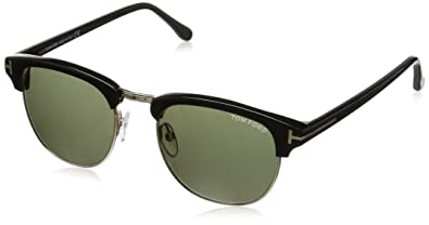 4055a93f63c Image Unavailable. Image not available for. Color  Tom Ford Sunglasses -  Henry   Frame  Shiny Black with Green Gradient Lens