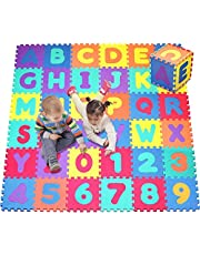 Save on Click N' Play, Alphabet and Numbers Foam Puzzle Play Mat, 36 Tiles (Each Tile Measures 12 X 12 Inch for a Total Coverage of 36 Square Feet) and more