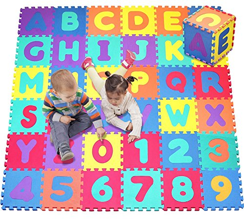 Mats Puzzle Kids - Click N' Play, Alphabet and Numbers Foam Puzzle Play Mat, 36 Tiles (Each Tile Measures 12