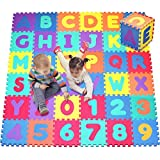 "Click N' Play Foam Alphabet and Numbers Puzzle Play Mat, Tile Size 12"" x 12"", 36 Tiles"