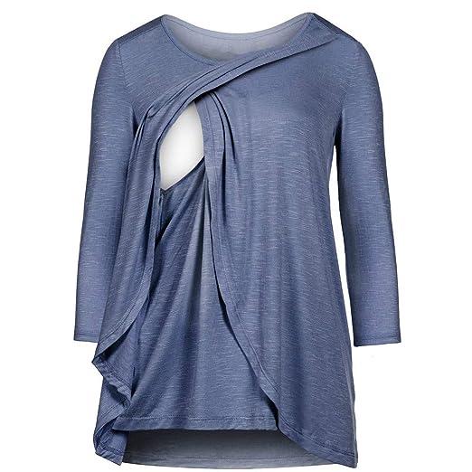 a28c04aa3ccc3 Womens Fashion Maternity Nursing Tops Long Sleeve Shirt Breastfeeding  Splice Blouse Fashion Comfort Sweatshirts Daorokanduhp Clothing, ...