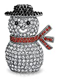 Crystal Christmas Snowman Holiday Brooch Pin Rhodium Plated