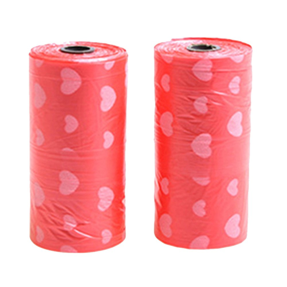 bjduck99 40Pcs Bags/2 Rolls Hearts Printed Disposable Vehicle Car Garbage Rubbish Bags - Red