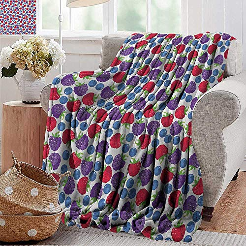 Camping Blanket,Colorful,Wild Fruits Collections Raspberry Blueberry and BlackBerry Fresh Healthy Options, Multicolor,Flannel Blankets Made with Plush Microfiber 30