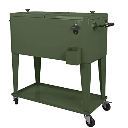 Genial Clevr Retro 80 Qt Outdoor Patio Cooler Rolling Cooler Ice Chest Tub, Hunter  Green,