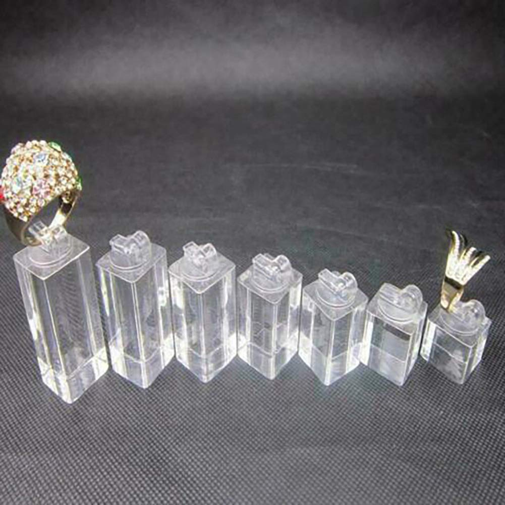Organizador Transparente Jiali 7 Piezas Expositor de Joyas de acr/ílico Diferentes Alturas para Anillos de Dedo