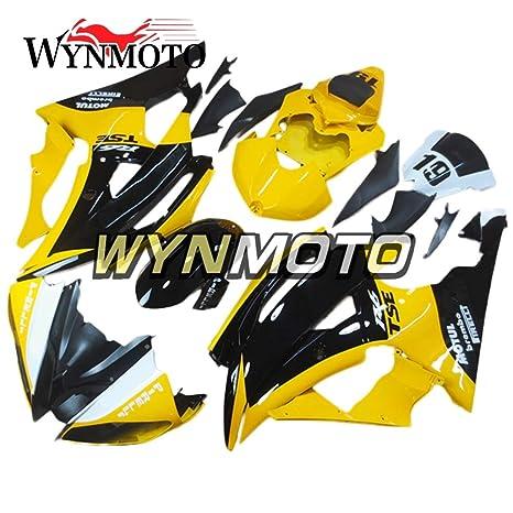wynmoto ABS Inyección completa motocicleta embellecedores para Yamaha YZF R6 2008 – 2016 negro amarillo cowlings