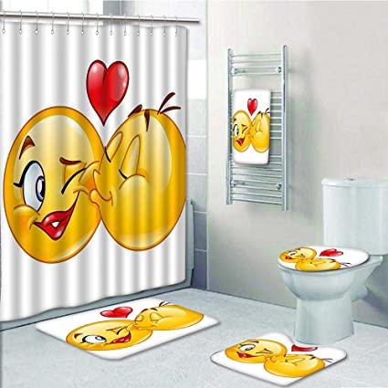 VROSELV 5 Piece Bathroom Set Includes Shower Curtain Liner Romantic Flirty Loving Smiley