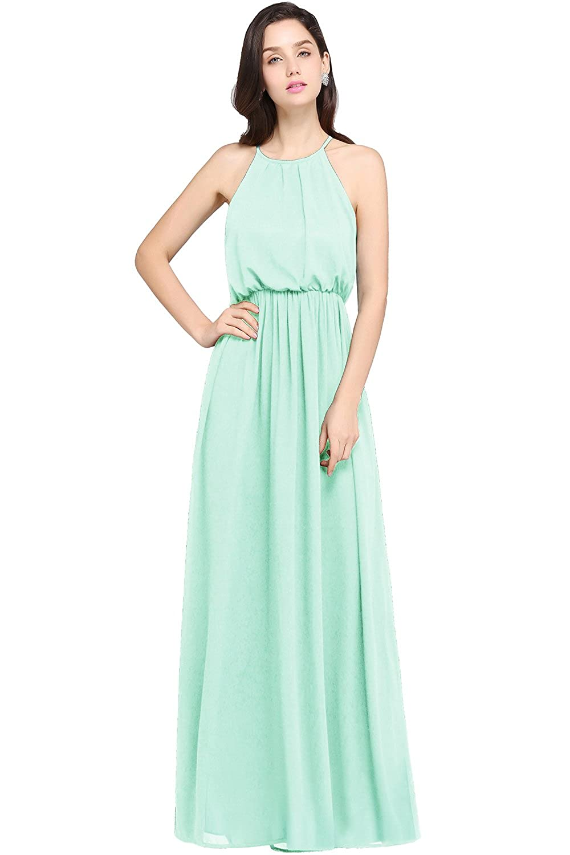 Amazon.com: Babyonlinedress Halter Casual Maxi Dress Women\'s Chiffon ...