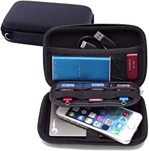 FOOKANN Hard Drive Storage Case, Waterproof Electronic Accessories Organizer Bag For 2.5 Inch Hard Drives, Power Bank, USB Cables, Headphones and Other Small Things