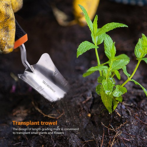 TACKLIFE Garden Tool Set, 3 Piece Stainless Steel Heavy Duty Gardening Kit with Soft Rubberized Non-Slip Handle - Trowel, Transplant Trowel and Cultivator Hand Rake - Garden Gifts for Parents丨GGT1A by TACKLIFE (Image #5)