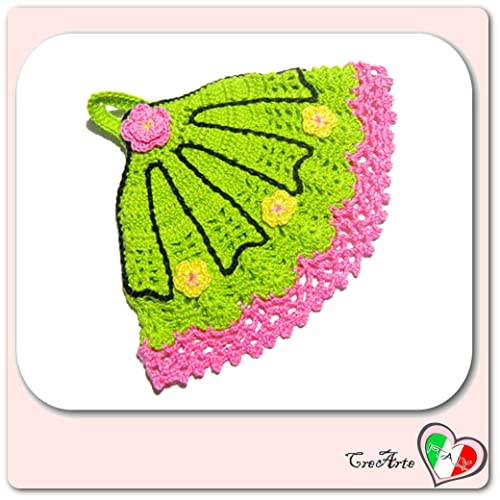 Fiori Gialli Uncinetto.Presina Ventaglio Verde E Rosa Con Fiori Gialli All Uncinetto
