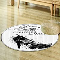 Nalahomeqq Quotes Decor Collection Give A Girl the Right Shoes and She Can Conquer the World Woman Fashion Art Print Polyester Fabric Room Circle carpet non-slip Black White-Diameter 90cm(36)