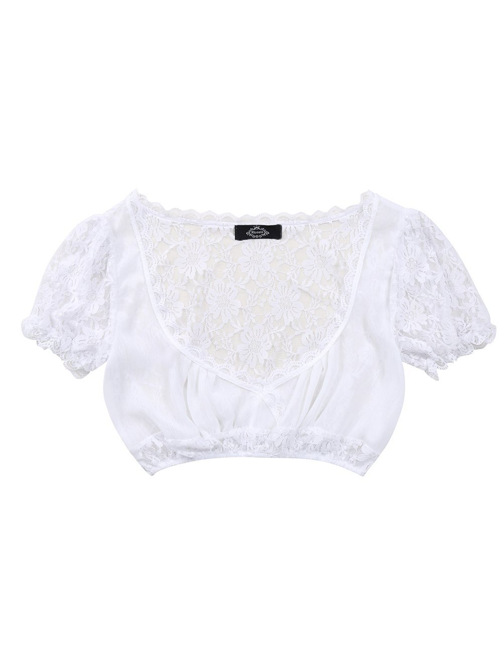 Leoie Women's Beer Festival Sexy See-Through Dirndl Solid Lace Chiffon Splicing Stylish Dirndl Top by Leoie (Image #5)