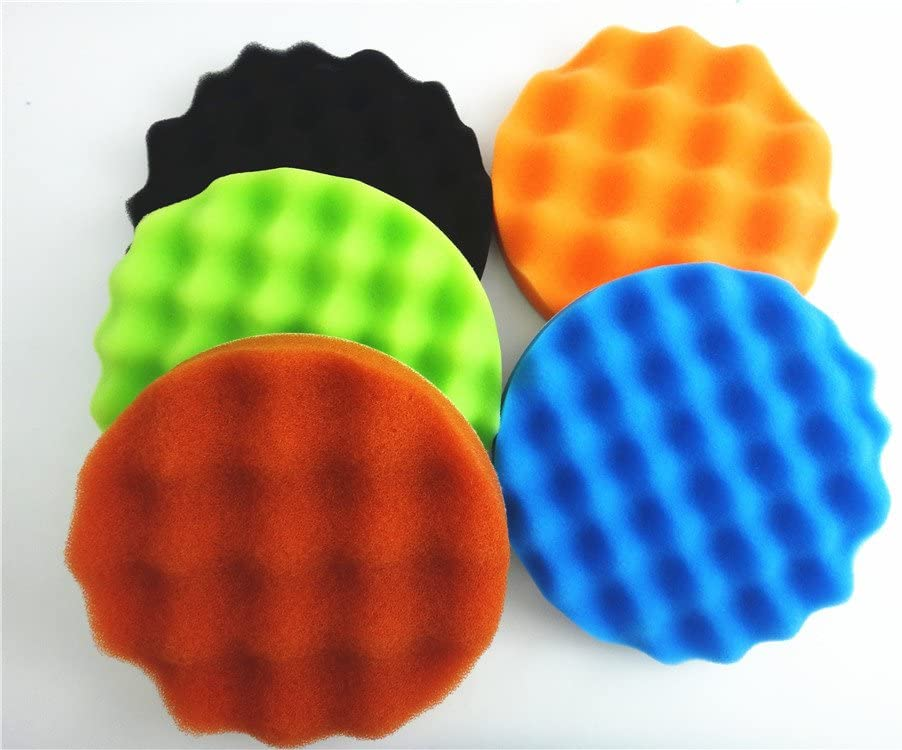 "5pcs 6/"" 7/"" Car Polisher Buffer Wave Waffle Sponge Buffing Polishing Pads Kit"