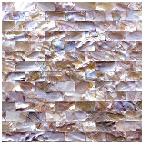 Art3d Natural Mother of Pearl Oyster Mini Brick Shell Mosaic Tile for Kitchen Backsplashes 10 Sq Ft Pack of 10 by Art3d (Image #2)