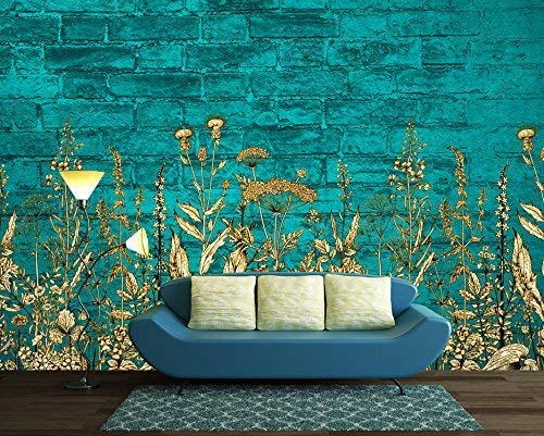 Large Wall Mural Light Blue Flowers On Teal Color Brick