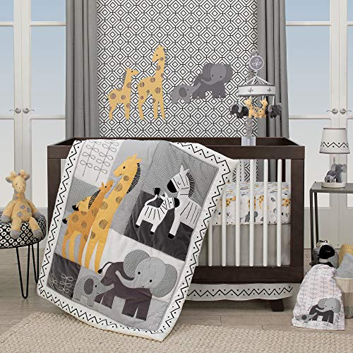 Lambs & Ivy Me & Mama 3-Piece Crib Bedding Set - Gray, White, Animals, Safari