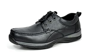 Bruno MARC MODA ITALY ADDY Men's Classic Leather Lace Up Driving Casual Moccasins Oxfords shoes Black SIZE 10.5