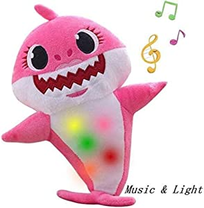 CHENCHEN Music Sound Baby Shark Plush Doll Soft Plush Toy Singing English Song Gifts for Children Boys and Girls(Pink) s