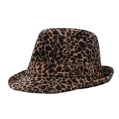 marr/ón MZ Sombrero de oto/ño e Invierno de Moda Leopardo Sombrero de Vaquero de Primavera y oto/ño Invierno c/álido Sombrero Hombres y Mujeres al Aire Libre Sombrero de Jazz de Inglaterra