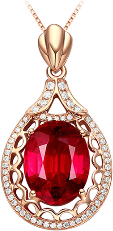 ButiRest Oro auténtico de 18 quilates, turmalina roja de 4,8 quilates, corte ovalado con diamante de 18 quilates, oro rojo 750, gotas de agua, gargantilla y colgante