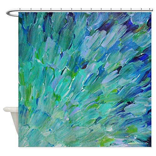 Curt Rod - CafePress - Sea Scales - Ombre Teal Ocean Abstract Shower Curt - Decorative Fabric Shower Curtain (69
