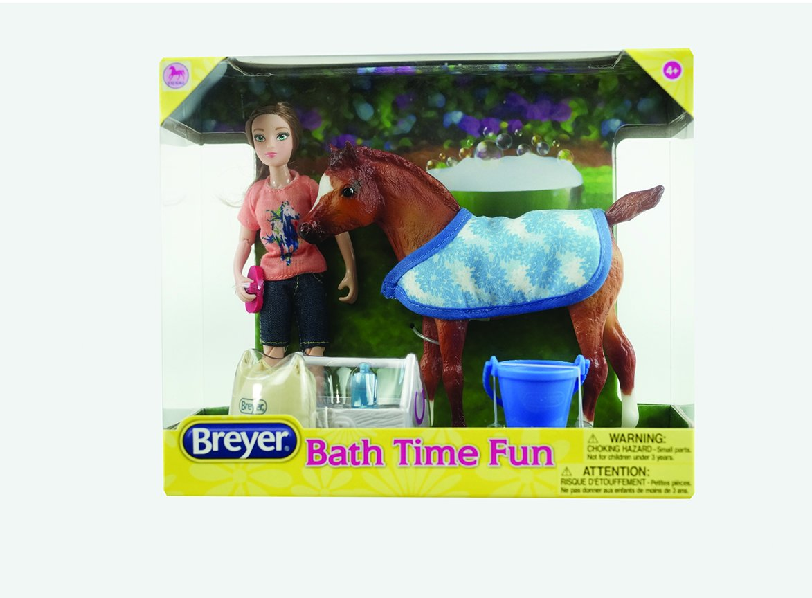 Breyer Classics Bath Time Fun Doll & Pony Activity Set (1:12 Scale), 8.75'' x 3.25'' x 7.25'', Multicolor by Breyer