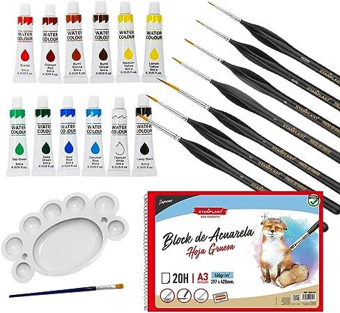 Starplast, Pack Artístico: Bloc de Acuarela A3 + 7 Pinceles + 12 Témperas + Paleta con Pincel, para Manualidades, Pintar, Dibujar, Colorear: Amazon.es: Hogar