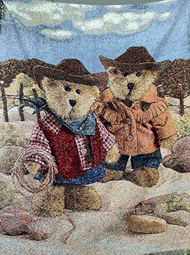 Tache Meanwhile in the West Cute Western Cowboy Teddy Bear Woven Tapestry Throw Blanket, 50