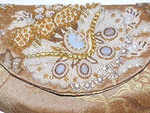 Handmade Bead Embroidered Clutch Handbag with Gemstones Rhinestones. Gold White Evening Formal Attire Wedding Purse. Free shipping USA & Canada