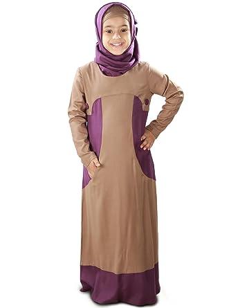 MyBatua Afreen Khaki Rayon moslemische Kinder Abaya Kleid AY-104-K (XS)