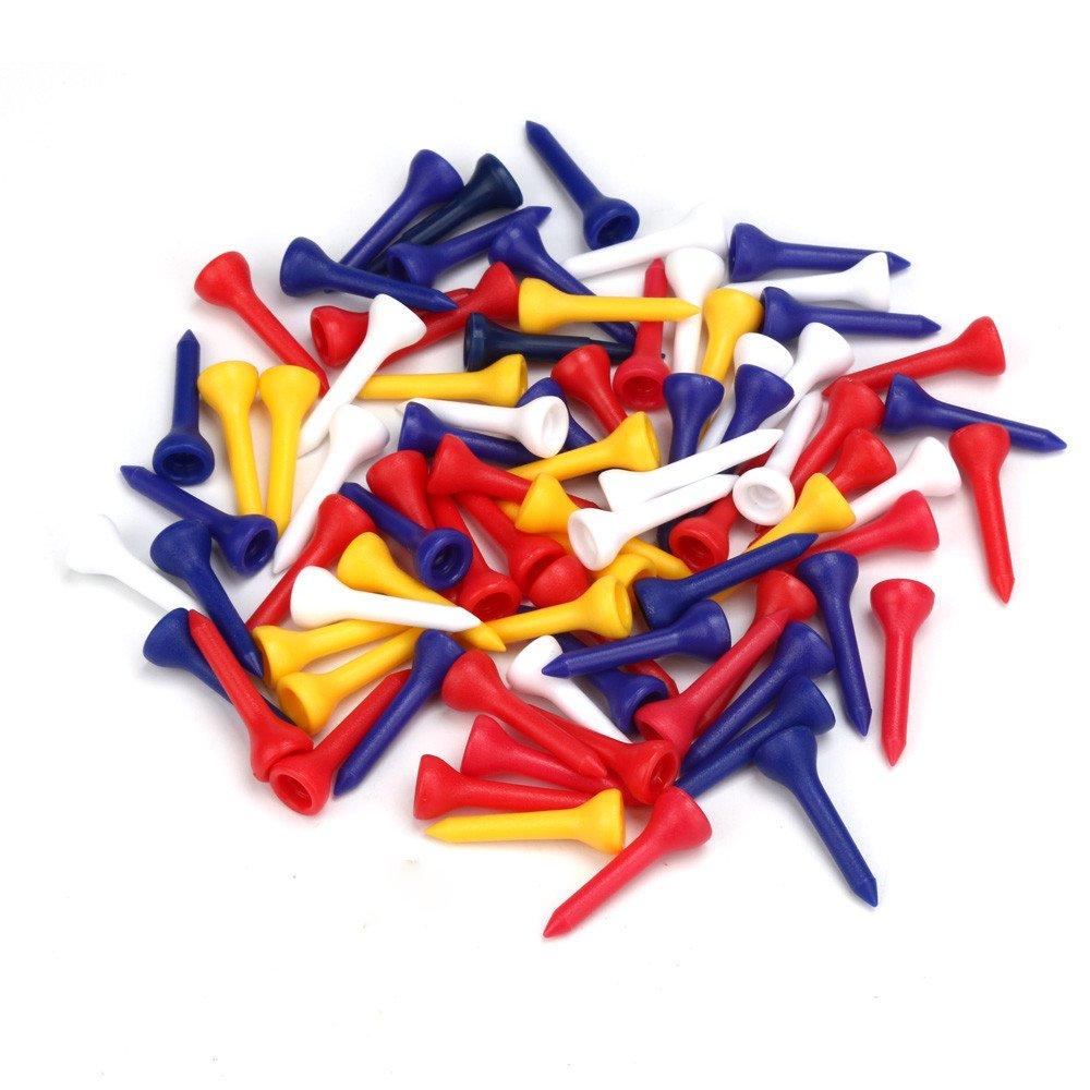 100個ステップダウンプラスチックゴルフティーランダムカラーサイズ3.6 CM   B0779JYWGR
