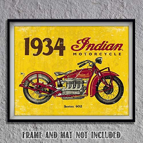 1934 Indian Motorcycle Vintage Print- 8 x10