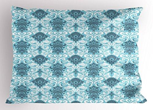 "Ambesonne Damask Pillow Sham, Floral Ornament Damask Pattern Timeless Silhouette Flourish Retro Art Design, Decorative Standard Size Printed Pillowcase, 26"" X 20"", White Grey"